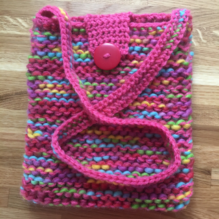 Rainbow knitted bag unfelted