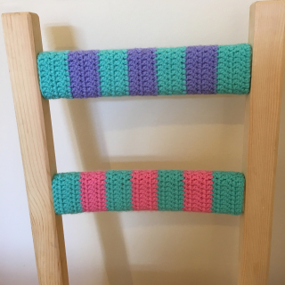 Blue purple pink crochet chair