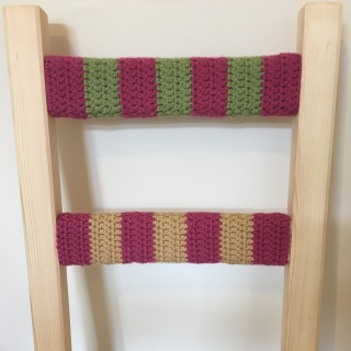 Pink green gold crochet chair