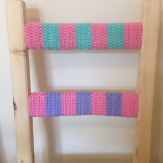 Pink blue purple crochet chair