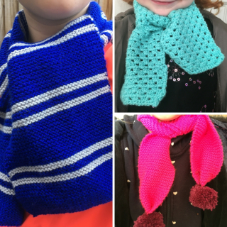 Three handmade scarves