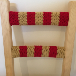 Red and gold crochet chair