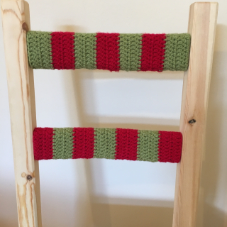Red and green crochet chair