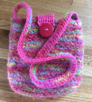 Rainbow knitted bag felted