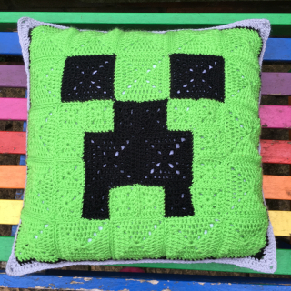 Minecraft Creeper Crochet Cushion Front